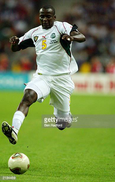 Thimothee Atouba of Cameroon makes a break forward during the FIFA Confederations Cup Final between France and Cameroon held on June 29 2003 at the...