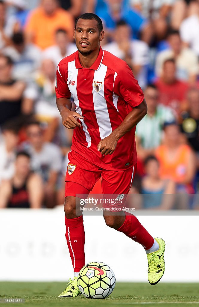 Thimothee Kolodziejczak of Sevilla in action during a Pre Season Friendly match between Sevilla and Alcorcon at Pinatar Arena Stadium on July 19, 2015 in San Pedro de Pinatar, Spain.