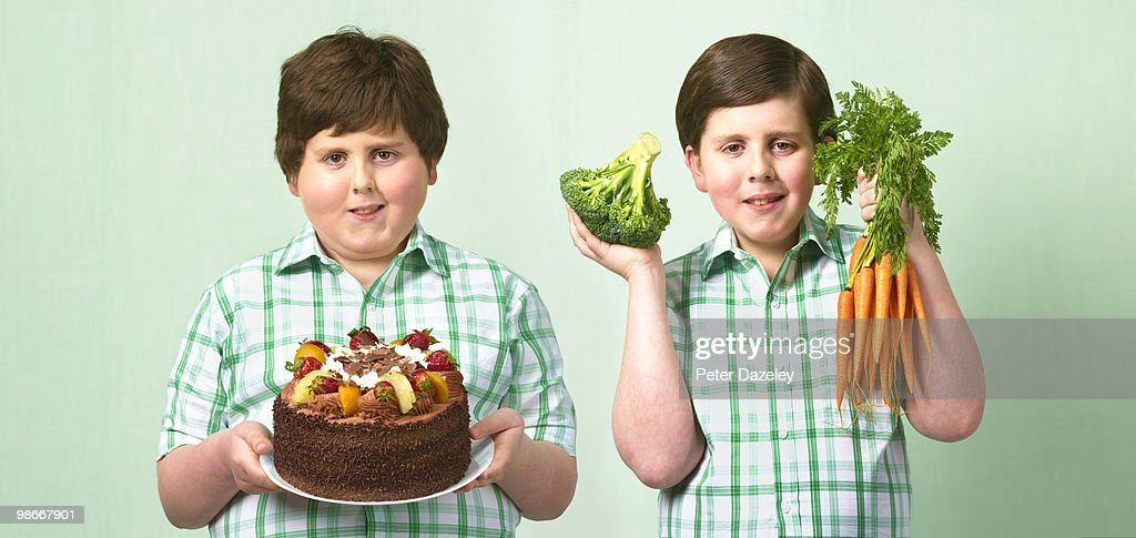 Thin and fat twins : Stock Photo