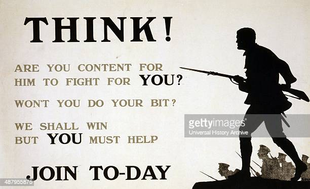 Think Are you content for him to fight for you Won't you do your bit We shall win but you must help Join today World war One recruitment poster 1915