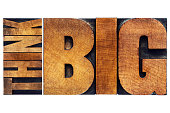 think big motivational phrase -  isolated text abstract - old grunge letterpress wood type printing blocks