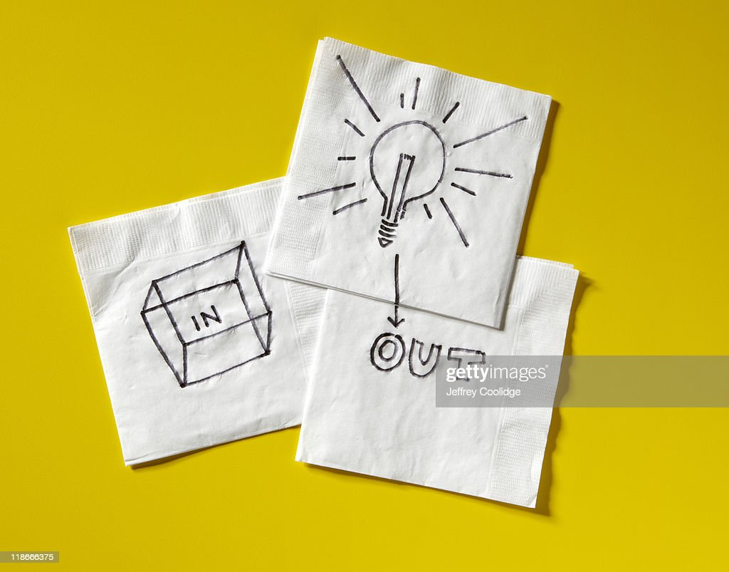 Think Outside Box on Napkins : Stock Photo