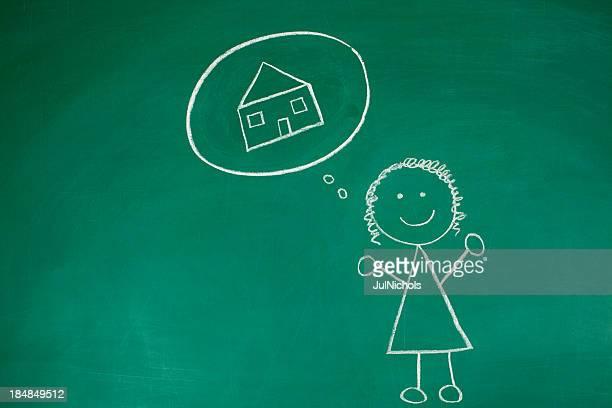 Denken über ein Traum Haus Malkreide-Zeichnung