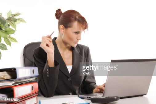 Thinking businesswoman : Stock Photo