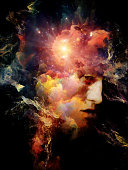 Symbols of Our Time series. Surreal digital art of human head with nebulas and lights on the subject of mental life, dreams, memory, consciousness, mind, creativity and imagination.