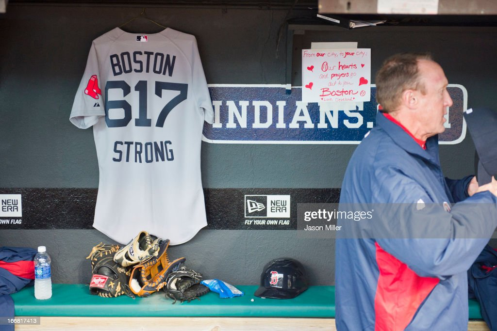 Third base coach Brian Butterfield of the Boston Red Sox stands in the dug out prior to the game against the Cleveland Indians at Progressive Field on April 16, 2013 in Cleveland, Ohio.