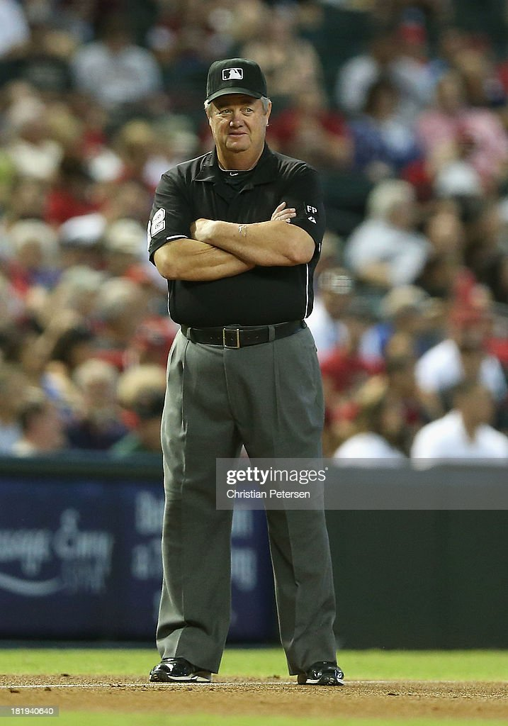Third base umpire Joe West during the MLB game between the Arizona Diamondbacks and the Los Angeles Dodgers at Chase Field on September 19 2013 in...