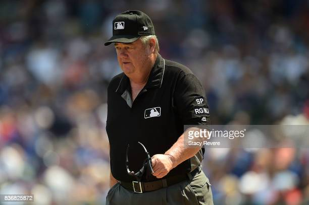 Third base umpire Joe West walks onto the field prior to a game between the Chicago Cubs and the Toronto Blue Jays at Wrigley Field on August 20 2017...