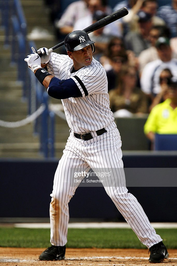 Third baseman Alex Rodriguez of the New York Yankees at bat against the Minnesota Twins during a Spring Training game on March 1 2007 at Legends...