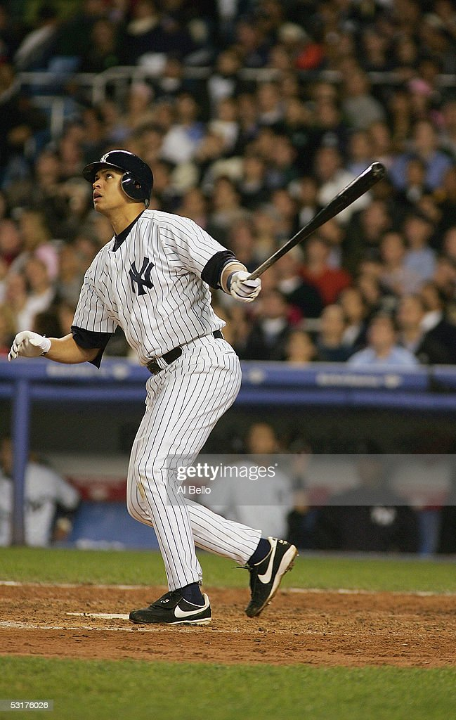 Third baseman Alex Rodriguez of the New York Yankees bats during Game 2 of the American League Division Series with the Minnesota Twins on October 6...