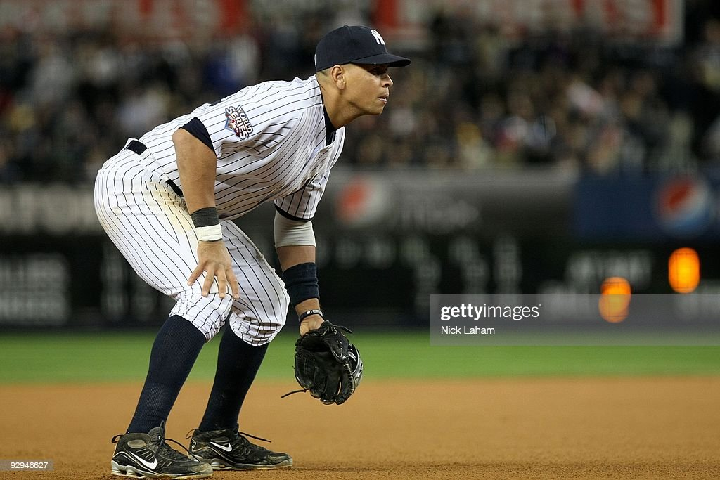 Third baseman Alex Rodriguez of the New York Yankees readies himself on defense against the Philadelphia Phillies in Game Six of the 2009 MLB World...