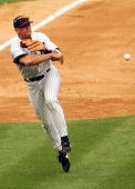 Third baseman Alex Rodriguez of the New York Yankees throws to first against the Baltimore Orioles on July 5 2005 at Yankee Stadium in the Bronx New...