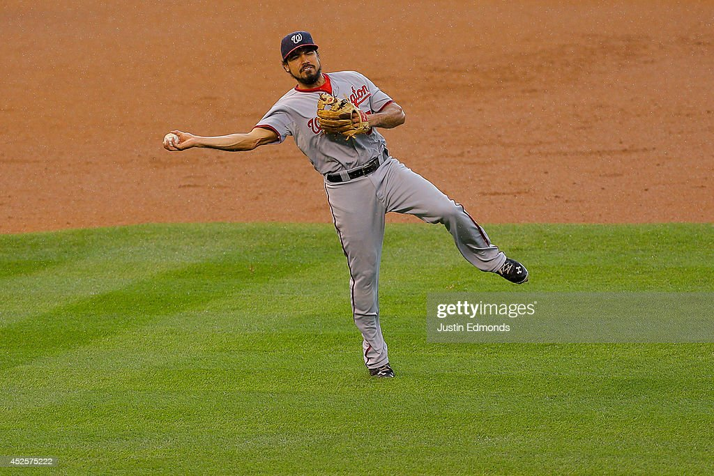 Third baseman <a gi-track='captionPersonalityLinkClicked' href=/galleries/search?phrase=Anthony+Rendon&family=editorial&specificpeople=7539238 ng-click='$event.stopPropagation()'>Anthony Rendon</a> #6 of the Washington Nationals makes a throw on the run for the third out of the seventh inning against the Colorado Rockies at Coors Field on July 23, 2014 in Denver, Colorado. The Rockies defeated the Nationals 6-4.
