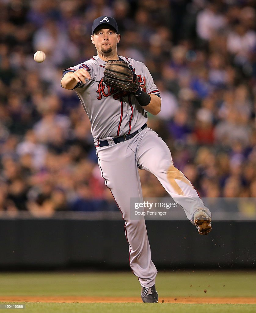 Third baseman Chris Johnson of the Atlanta Braves throws out a runner against the Colorado Rockies at Coors Field on June 10 2014 in Denver Colorado...