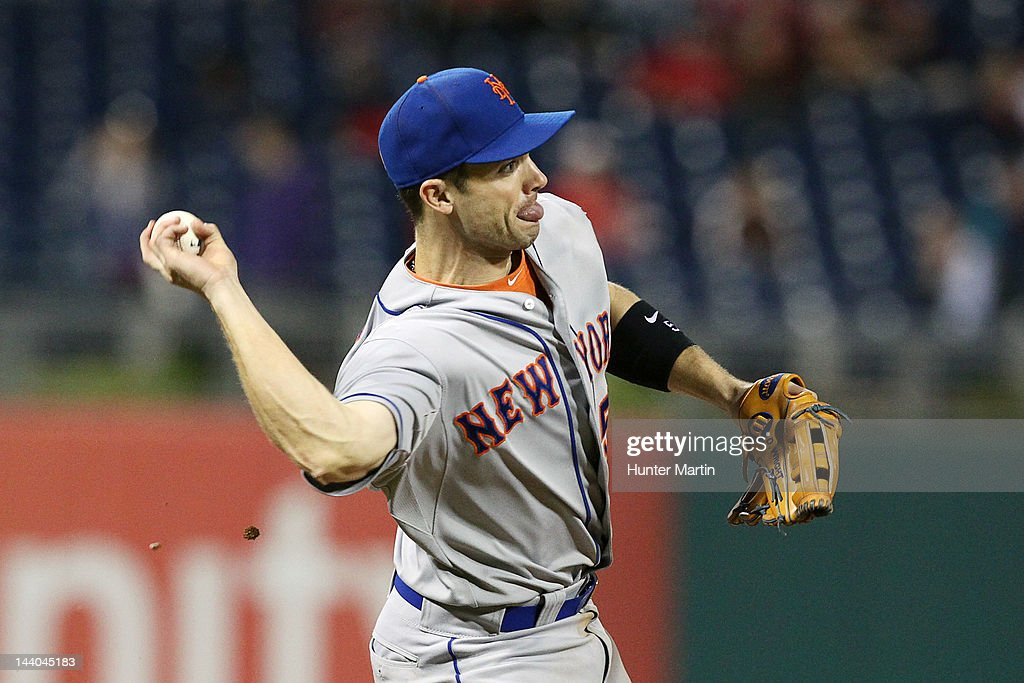 Third baseman <a gi-track='captionPersonalityLinkClicked' href=/galleries/search?phrase=David+Wright+-+Baseball+Player&family=editorial&specificpeople=209172 ng-click='$event.stopPropagation()'>David Wright</a> #5 of the New York Mets throws to first during a game against the Philadelphia Phillies at Citizens Bank Park on May 8, 2012 in Philadelphia, Pennsylvania. The Mets won 7-4.