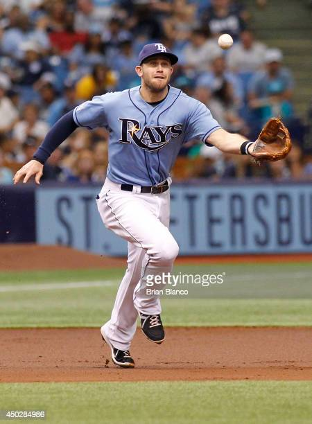 Third baseman Evan Longoria of the Tampa Bay Rays fields a grounder by Willie Bloomquist of the Seattle Mariners during the third inning of a game on...