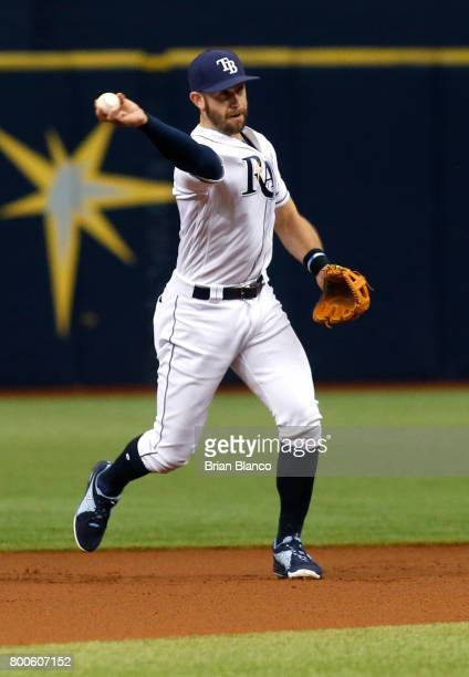 Third baseman Evan Longoria of the Tampa Bay Rays fields the ground out by Seth Smith of the Baltimore Orioles during the first inning of a game on...