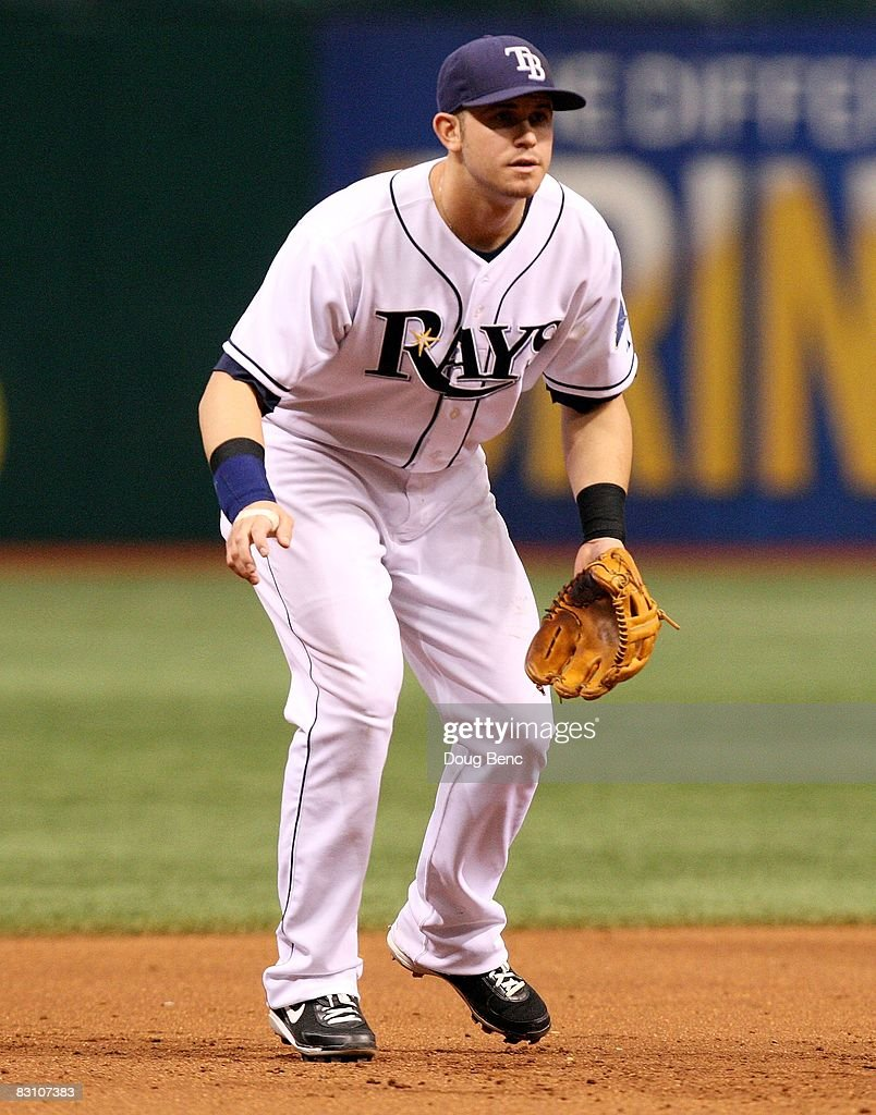 Third baseman Evan Longoria #3 of the Tampa Bay Rays gets set against the Chicago White Sox in Game 1 of the American Leaugue Divisional Series at Tropicana Field on October 2, 2008 in St. Petersburg, Florida. The Rays defeated the White Sox 6-4.