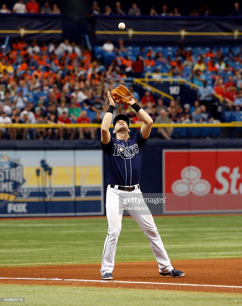 Third baseman Evan Longoria #3 of the Tampa Bay Rays hauls in the pop out by David Ortiz of the Boston Red Sox with the bases loaded during the sixth inning of a game on June 29, 2016 at Tropicana Field in St. Petersburg, Florida.