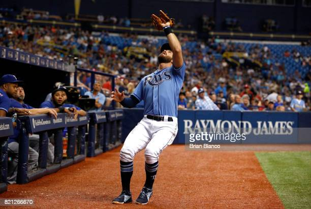 Third baseman Evan Longoria of the Tampa Bay Rays hauls in the pop foul by Joey Gallo of the Texas Rangers during the third inning of a game on July...