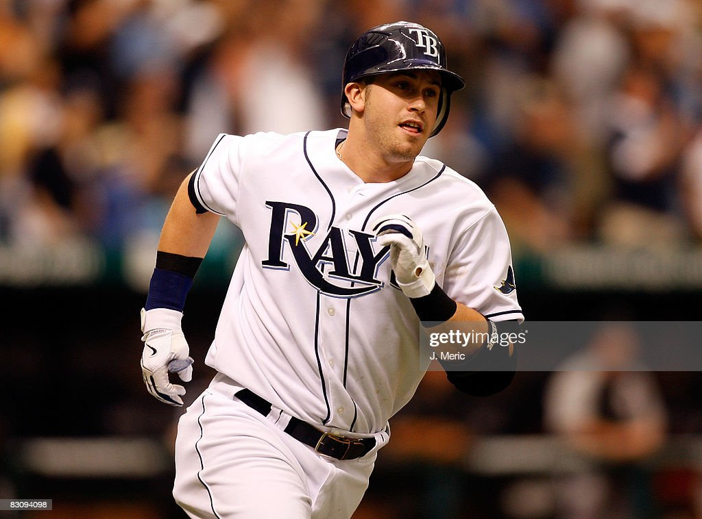 Third baseman Evan Longoria #3 of the Tampa Bay Rays rounds the bases after his first home run against the Chicago White Sox in Game 1 of the American League Divisional Series at Tropicana Field on October 2, 2008 in St. Petersburg, Florida.