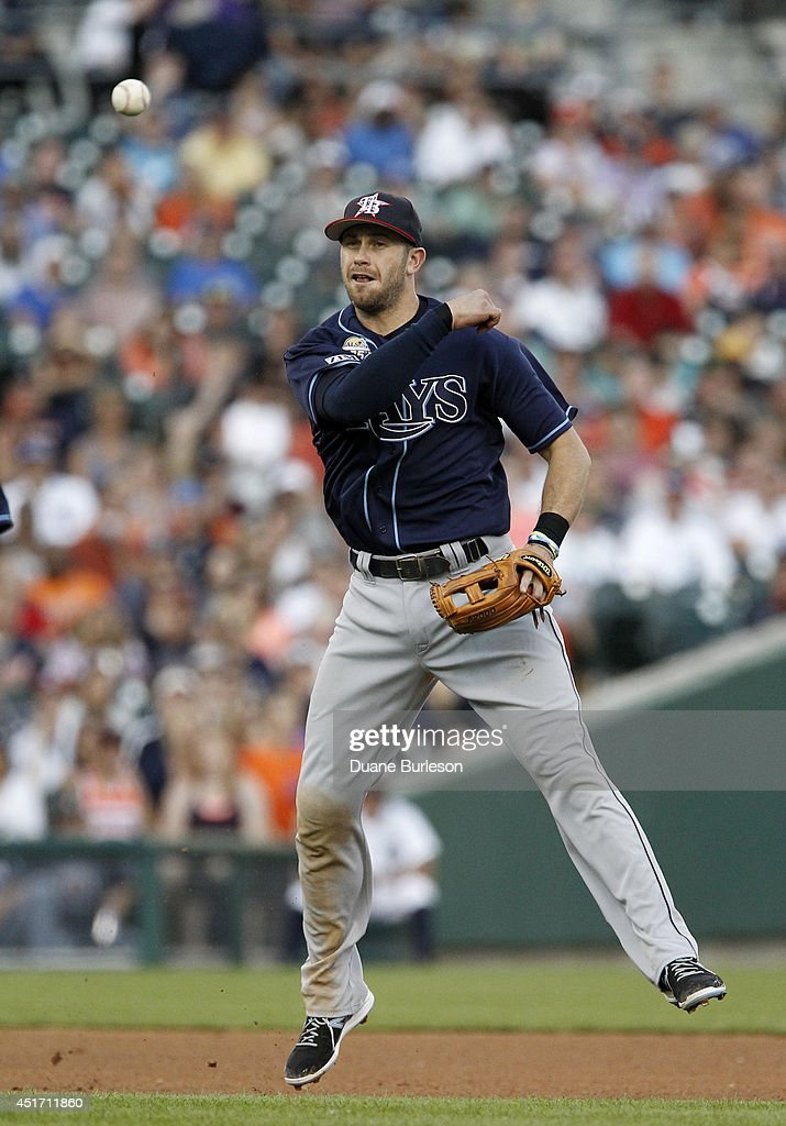 Third baseman <a gi-track='captionPersonalityLinkClicked' href=/galleries/search?phrase=Evan+Longoria&family=editorial&specificpeople=2349329 ng-click='$event.stopPropagation()'>Evan Longoria</a> #3 of the Tampa Bay Rays throws out Miguel Cabrera of the Detroit Tigers at first base during the fourth inning at Comerica Park on July 4, 2014 in Detroit, Michigan. The Rays defeated the Tigers 6-3.