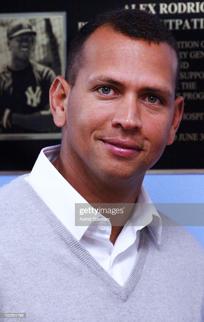 Third baseman for the New York Yankees, <a gi-track='captionPersonalityLinkClicked' href=/galleries/search?phrase=Alex+Rodriguez+-+Baseball+Player&family=editorial&specificpeople=167080 ng-click='$event.stopPropagation()'>Alex Rodriguez</a> attends the <a gi-track='captionPersonalityLinkClicked' href=/galleries/search?phrase=Alex+Rodriguez+-+Baseball+Player&family=editorial&specificpeople=167080 ng-click='$event.stopPropagation()'>Alex Rodriguez</a> Pediatric Outpatient Center dedication ceremony at Bronx-Lebanon Hospital on June 30, 2010 in the Bronx Borough of New York City.