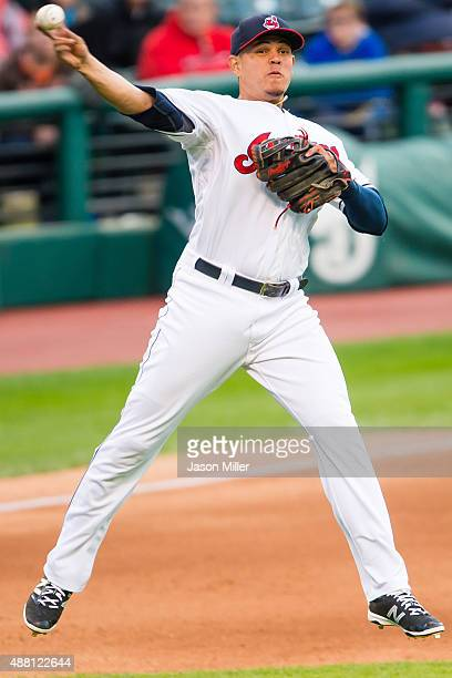 Third baseman Giovanny Urshela of the Cleveland Indians throws out Alex Avila of the Detroit Tigers during the fourth inning during game two of a...