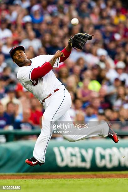 Third baseman Jose Ramirez of the Cleveland Indians throws out Kendrys Morales of the Toronto Blue Jays at first to end the top of the eighth inning...