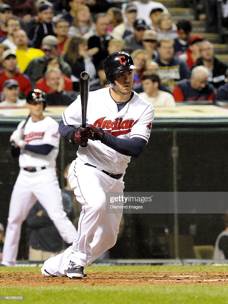 Third baseman Lonnie Chisenhall #8 of the Cleveland Indians bats during a game against the Chicago White Sox on September 25, 2013 at Progressive Field in Cleveland, Ohio. Cleveland won 7-2.