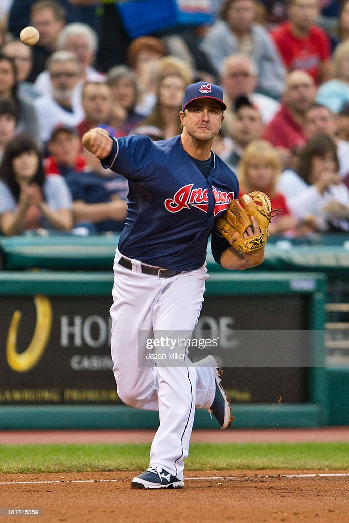 Third baseman Lonnie Chisenhall #8 of the Cleveland Indians throws to first during the first inning against the New York Mets at Progressive Field on September 6, 2013 in Cleveland, Ohio.