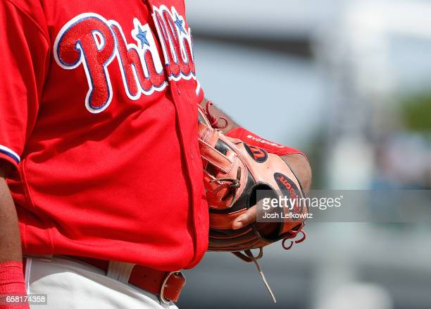 Third Baseman Maikel Franco of the Philadelphia Phillies wears a Wilson glove during the game between the Philadelphia Phillies and the New York...