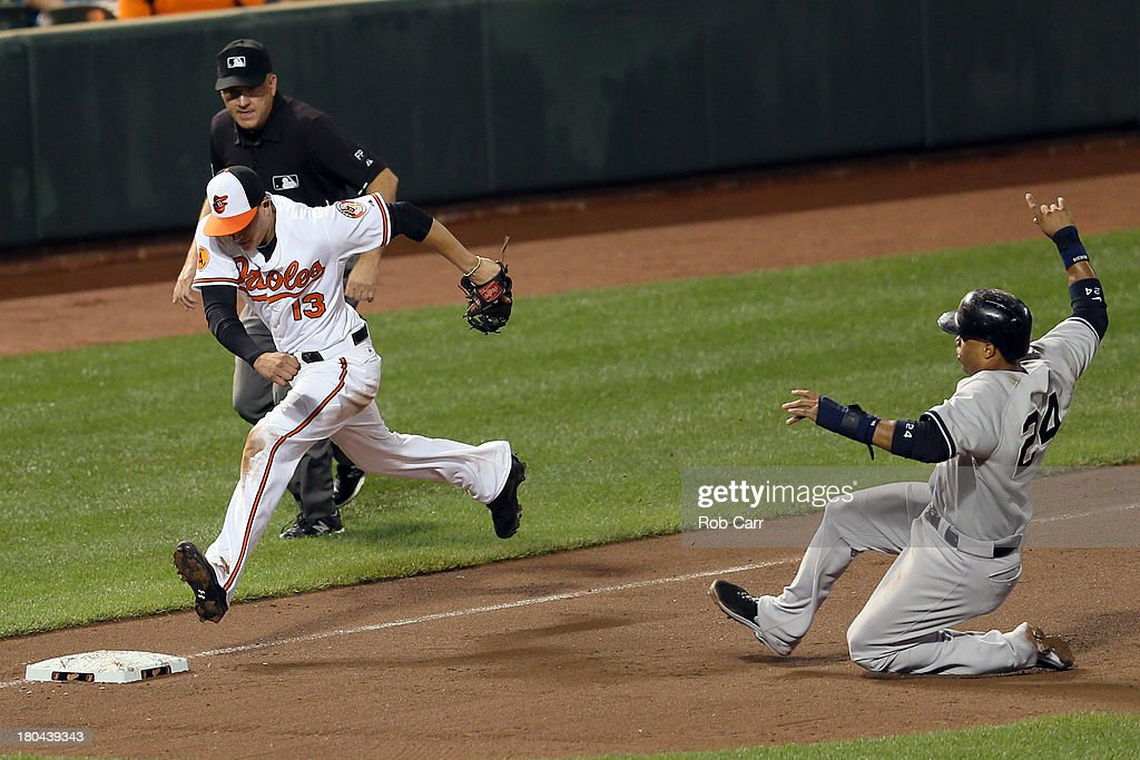Third baseman <a gi-track='captionPersonalityLinkClicked' href=/galleries/search?phrase=Manny+Machado&family=editorial&specificpeople=5591039 ng-click='$event.stopPropagation()'>Manny Machado</a> #13 of the Baltimore Orioles forces out <a gi-track='captionPersonalityLinkClicked' href=/galleries/search?phrase=Robinson+Cano&family=editorial&specificpeople=538362 ng-click='$event.stopPropagation()'>Robinson Cano</a> #24 of the New York Yankees for the third out of the third inning at Oriole Park at Camden Yards on September 12, 2013 in Baltimore, Maryland.