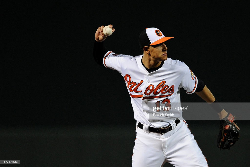 Third baseman <a gi-track='captionPersonalityLinkClicked' href=/galleries/search?phrase=Manny+Machado&family=editorial&specificpeople=5591039 ng-click='$event.stopPropagation()'>Manny Machado</a> #13 of the Baltimore Orioles throws out Sean Rodriguez #1 of the Tampa Bay Rays (not pictured) in the sixth inning at Oriole Park at Camden Yards on August 21, 2013 in Baltimore, Maryland. The Baltimore Orioles won, 4-2.