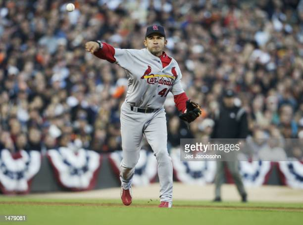Third baseman Miguel Cairo of the St Louis Cardinals makes the play after Benito Santiago of the San Francisco Giants grounded out during the second...