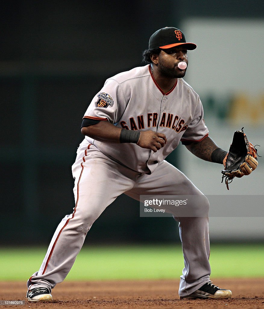 Third baseman <a gi-track='captionPersonalityLinkClicked' href=/galleries/search?phrase=Pablo+Sandoval&family=editorial&specificpeople=803207 ng-click='$event.stopPropagation()'>Pablo Sandoval</a> #48 of the San Francisco Giants awaits the balll in play against the Houston Astros at Minute Maid Park on August 21, 2011 in Houston, Texas.