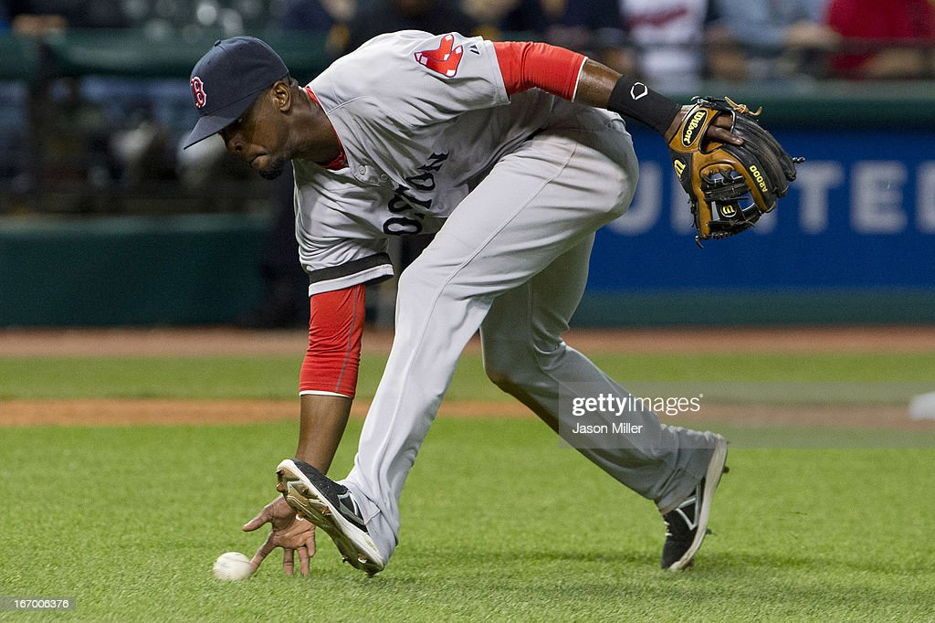 Third baseman Pedro Ciriaco #23 of the Boston Red Sox fields a bunt hit by Michael Brantley #23 of the Cleveland Indians during the sixth inning at Progressive Field on April 18, 2013 in Cleveland, Ohio.