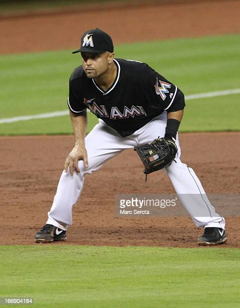 Third baseman Placido Polanco of the the Miami Marlins plays against the Philadelphia Phillies at Marlins Park on April 12 2013 in Miami Florida The...