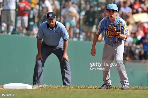 Third baseman Seth Godfrey of California anticipates a play during the game against Asia Pacific in the little league world series final at Lamade...