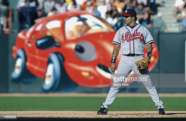 Third baseman Vinny Castilla of the Atlanta Braves stands on the infield during game three of the National League Division Series against the San...