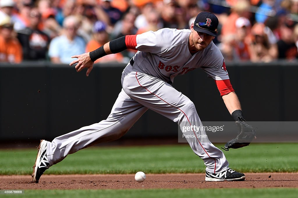 Third baseman <a gi-track='captionPersonalityLinkClicked' href=/galleries/search?phrase=Will+Middlebrooks&family=editorial&specificpeople=7934204 ng-click='$event.stopPropagation()'>Will Middlebrooks</a> #16 of the Boston Red Sox makes a play against the Baltimore Orioles in the third inning at Oriole Park at Camden Yards on September 21, 2014 in Baltimore, Maryland.