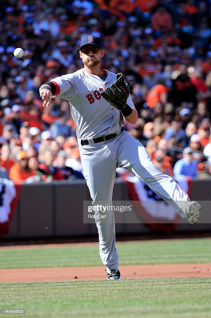 Third baseman <a gi-track='captionPersonalityLinkClicked' href=/galleries/search?phrase=Will+Middlebrooks&family=editorial&specificpeople=7934204 ng-click='$event.stopPropagation()'>Will Middlebrooks</a> #16 of the Boston Red Sox throws to first base against the Baltimore Orioles during Opening Day at Oriole Park at Camden Yards on March 31, 2014 in Baltimore, Maryland.