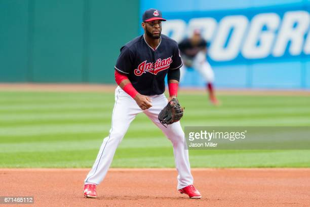 Third baseman Yandy Diaz of the Cleveland Indians in his ready stance during the first inning against the Detroit Tigers at Progressive Field on...