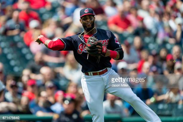 Third baseman Yandy Diaz of the Cleveland Indians throws out Andrew Romine of the Detroit Tigers at first to end the top of the second inning at...