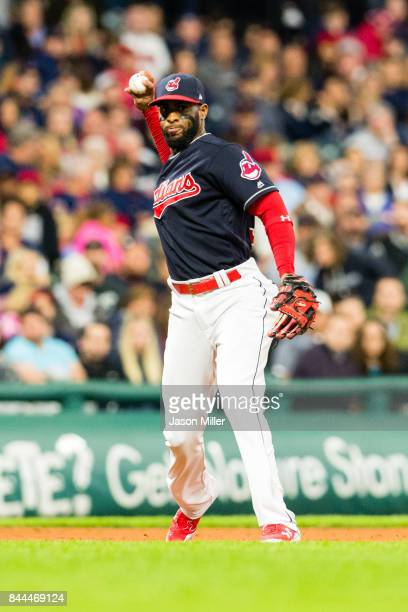 Third baseman Yandy Diaz of the Cleveland Indians throws out Jonathan Schoop of the Baltimore Orioles during the sixth inning at Progressive Field on...