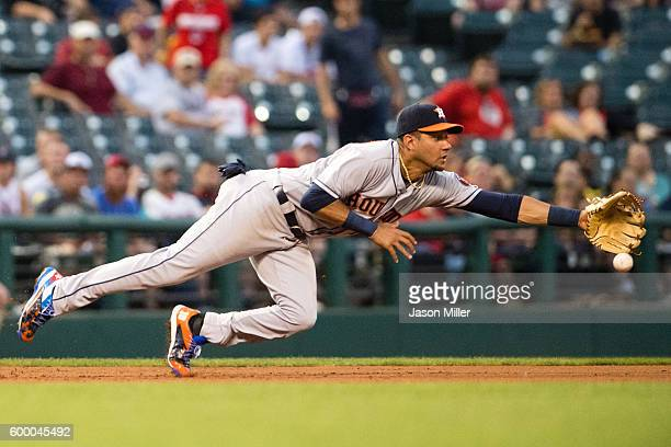 Third baseman Yulieski Gurriel of the Houston Astros can't get to a ground ball hit by Lonnie Chisenhall of the Cleveland Indians during the second...