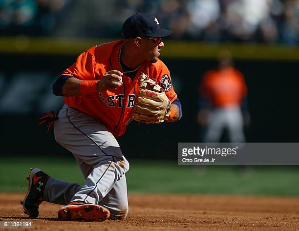 Third baseman Yulieski Gurriel of the Houston Astros throws to first base against the Seattle Mariners at Safeco Field on September 18 2016 in...