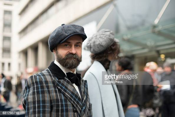 Third day of London Fashion Week Men's 2017 Models pro or amateur pose outside the catwalks at King's College to show their outfits London Fashion...