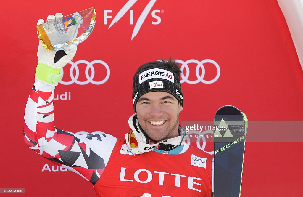 Third finisher Vincent Kriechmayr of Austria celebrate during the Men's Super G Finals during the 2016 Audi FIS Ski World Cup at the Jeongseon Alpine Centre on February 7, 2016 in Jeongseon-gun, South Korea.