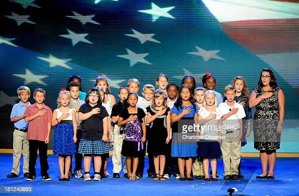 Third graders from WR O'Dell Elementary School in Concord North Carolina lead the Pledge of Allegiance at the 2012 Democratic National Convention at...